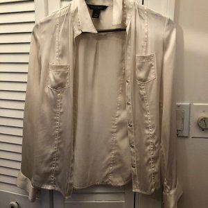 White House Black Market women beige Silk shirt